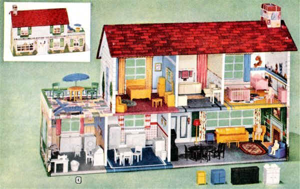 1950s vintage metal doll house